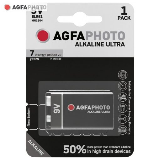 AgfaPhoto Ultra Alkáli 9V Elem B1