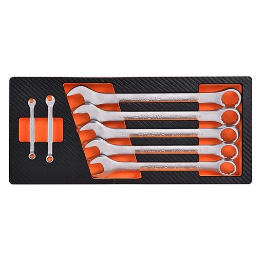 Tactix szerszámkészlet modul 7 részes csillag-villás kulcs készlet, szivacstálcával